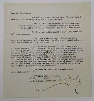 Typed Letter Signed to Theodore Roosevelt. Cyrus Townsend BRADY, 1861 - 1920