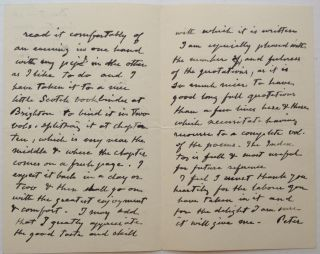 Autographed Letter Signed to art critic Sidney Colvin