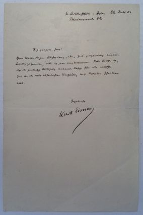 Rare Autographed Letter Signed in German. Kurt EISNER, 1867 - 1919.