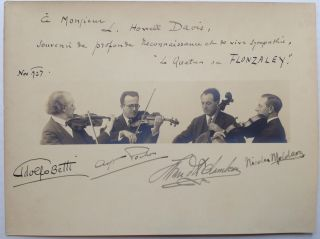 Inscribed Vintage Photograph. FLONZALEY QUARTET