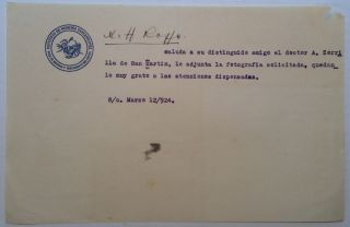 Scarce Typed Letter Signed. Angel ROFFO