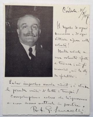 Autographed Note Signed to a Colleague. Giuseppe SANARELLI, 1864 - 1940