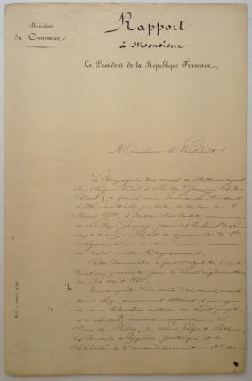 Excellent Signed Document in French. Sadi CARNOT, 1837 - 1894.