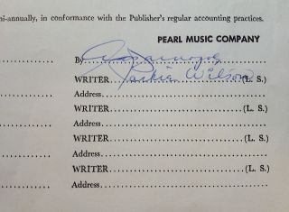 Signed Songwriter-Publishing Contract