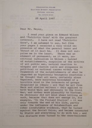 Extraordinary Typed Letter Signed about Edmond Wilson. Isaiah BERLIN, 1909 - 1997