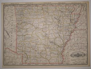 Railroad and County Map of Arkansas. George CRAM