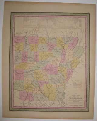 A New Map of Arkansas with its Canals Roads & Distances. COWPERTHWAIT THOMAS, Co