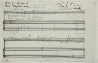 Autographed Musical Quotation. Ross Lee FINNEY, 1906 - 1997
