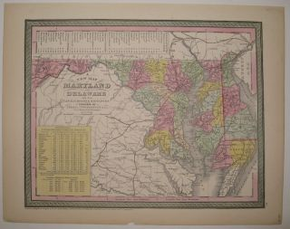 A New Map of Maryland & Delaware with their Canals, Roads & Distances. COWPERTHWAIT THOMAS, CO.