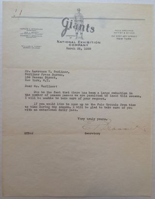 Typed Letter Signed on New York Giants letterhead. Edward BRANNICK, 1892 - 1975.