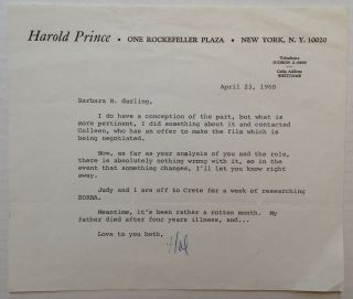 "Typed Letter Signed ""Hal"" on personal letterhead. Harold PRINCE, 1928"
