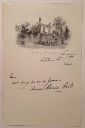 Autographed Note Signed. Anna Maria HALL, 1800 - 1881