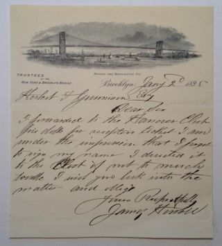 Autographed Letter Signed with a Fine Vignette of the Brooklyn Bridge. James HOWELL.