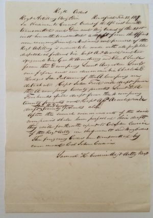 Autographed Document Signed regarding a boundary dispute. AROOSTOOK WAR -.