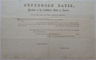 Original Blank Alabama Executive Appointment Document. CONFEDERATE STATES of AMERICA.