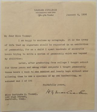 Amusing Typed Letter Signed about Penmanship. Henry Noble MACCRACKEN, 1880 - 1970