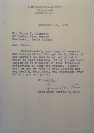 Typed Letter Signed by a Football Player. George V. KERR, 1919 - 1983