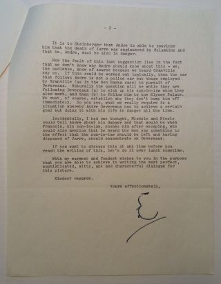 """Typed Letter Signed to Leon Uris and 12-page outline for the film """"Topaz"""""""