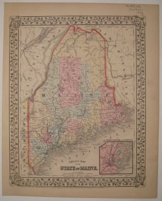 County Map of the State of Maine. Samuel Augustus Jr MITCHELL