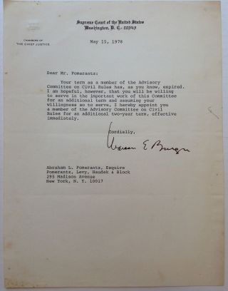 Typed Letter Signed as Chief Justice of the Supreme Court. Warren E. BURGER, 1907 - 1995.
