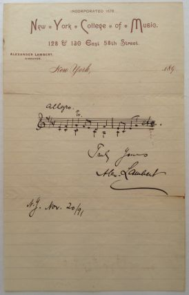 Autographed Musical Quotation Signed on his Professional Letterhead. Alexander LAMBERT, 1862 - 1929