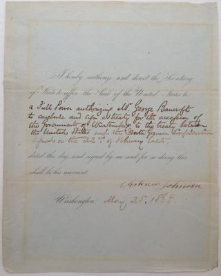 Document Signed as President. Andrew JOHNSON, 1808 - 1875