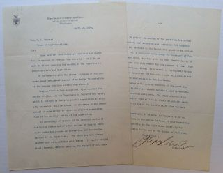 Typed Letter Signed about the Proposed Jamestown Exposition. George B. CORTELYOU, 1862 - 1940