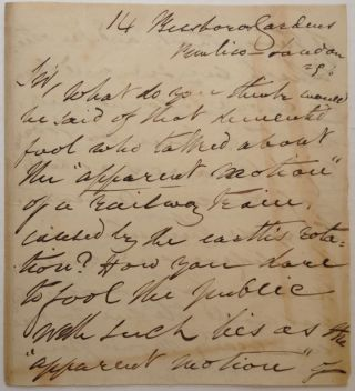 Rare, Important and Angry Autographed Letter Signed by a Flat-Earther. John HAMPDEN, 1819 - 1891