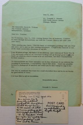 Three Signed Items -- a photograph, letter, and envelope