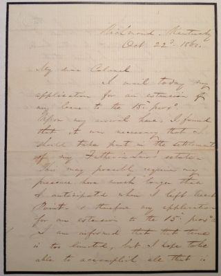 Autographed Letter Signed Requesting an Extended leave of Absence. Stephen Vincent BENET, 1827 -...