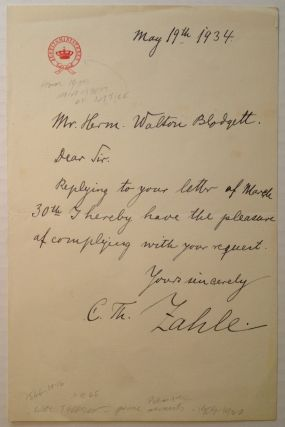 Autographed Letter Signed to an admirer. Carl Theodore ZAHLE, 1866 - 1946