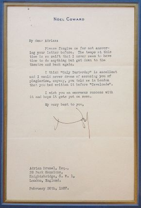 Framed Typed Letter Signed on personal stationery