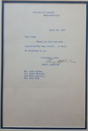 Framed Typed Letter Signed to a Broadway producer