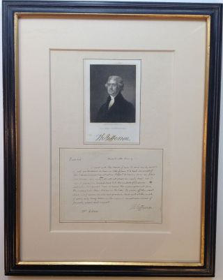 Framed Autographed Letter Signed during the War of 1812. Thomas JEFFERSON, 1743 - 1826