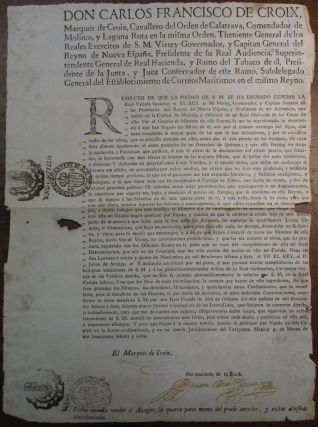 Exceedingly Rare Document Signed by the Original Residents of Texas. Carlos Francisco de CROIX,...
