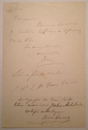 "Rare Autographed Letter Signed ""Julio"" in Spanish. Julio ARBOLEDA, 1817 - 1862."