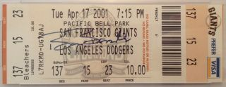 Signed Ticket Stub from the game of his 500th home run. Barry BONDS, 1964