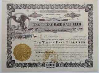 Rare Signed Stock Certificate. DETROIT TIGERS.