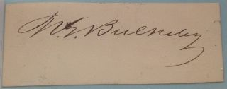 Rare Clipped Signature. Morgan Gardner BULKELEY, 1837 - 1922