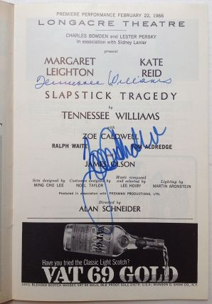 "Signed Playbill -- ""Slapstick Tragedy"" Tennessee WILLIAMS, 1911 - 1983"