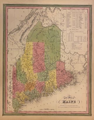 A New Map of Maine. Samuel Augustus Sr MITCHELL