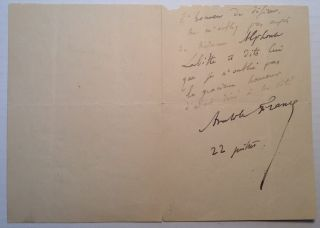 Autographed Letter Signed in French. Anatole - Jacques Anatole Thibault FRANCE, 1844 - 1924.