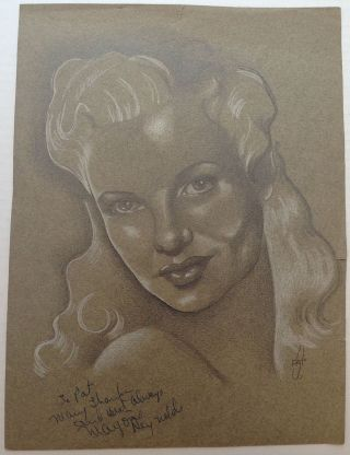Signed Original Drawing. Marjorie REYNOLDS, 1917 - 1997