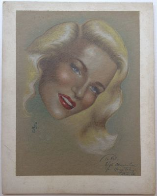 Inscribed Original Pastel Drawing. Peggy LEE, 1920 - 2002
