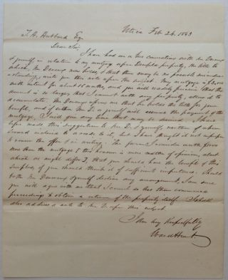 Important Autographed Letter Signed by a contentious judge. Ward HUNT, 1810 - 1886.