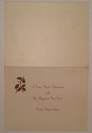 """Autograph Letter Signed """"Madame"""" on a Christmas card"""
