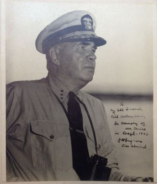 Oversized Inscribed Photograph. Admiral Jonas Howard INGRAM, 1886 - 1952