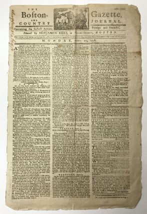 The Boston-Gazette, and Country Journal. No. 1235. April 27, 1778. AMERICAN REVOLUTION NEWSPAPER.