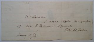 Autographed Note Signed. Robert Ward JOHNSON, 1814 - 1879