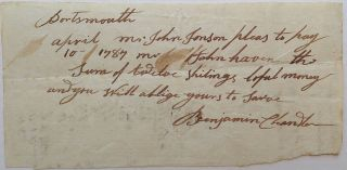 Autographed Document Signed. Benjamin CHANDLER, 1721 - 1799.